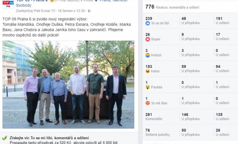 Facebookové stránky TOP 09 Praha 6 zpříjemnily mnoha lidem páteční odpoledne